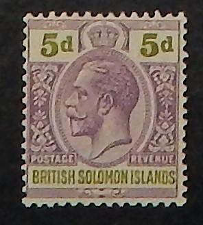 Solomon Islands 50. 1922 5p Dull violet & olive green KGV