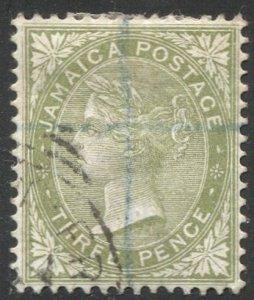 JAMAICA 1886 Scott 21  3d QV  VF, partial Cancel