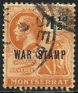 Montserrat War Tax 1918 Scott# MR3 Used