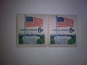 SCOTT # 1338A COIL PAIR FLAG ISSUE GEM  !!  FREE DOMESTIC SHIPPING !!