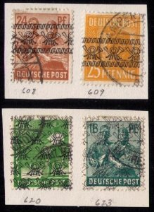USED Germany Sc #608-609,620,623 USA & British Zones Incomplet Set Of 4 F-VF