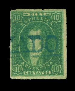 ARGENTINA 1864  RIVADAVIA 10c green  Scott # 12 used CERTIFICADO blue cancel
