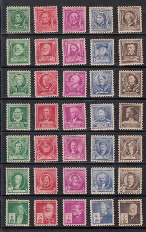 859-93 Famous Americans  12 mint sets