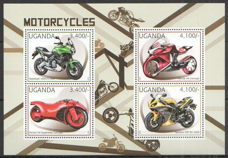 UG065 2012 UGANDA MOTORCYCLES MOTOS TRANSPORT #2896-2899 MNH