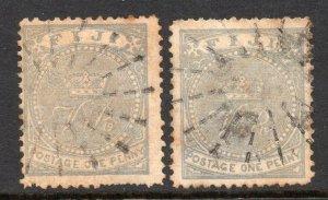 Fiji 1878 1d BOTH SHADES perf 12½ SG 35, 35a used CV £40
