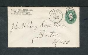 Postal History - Hillsdale MI 1893 Black Tall Oval Target Cancel PS B0694