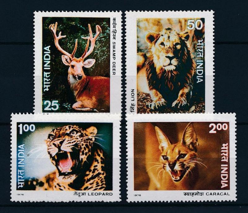 [38449] India 1976 Wild Animals Mammals Deer Lion Leopard Caracal MNH