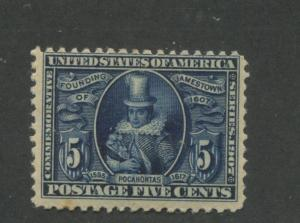 1907 US Stamps #330 5c Mint Never Hinged Average Jamestown Exposition Issue