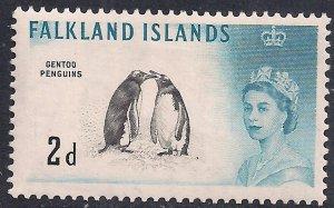Falkland Islands 1960 - 66 QE2 2d Gentoo Penguins MM SG 195 ( G98 )