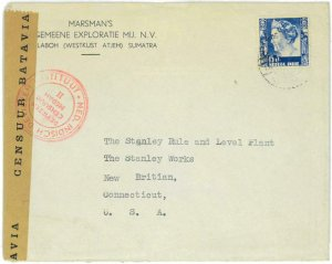 93706 - DUTCH INDIES  - POSTAL HISTORY -  CENSORED Airmail  COVER to USA  1940's