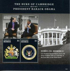 Micronesia Royalty Stamps 2015 MNH Prince William & Barack Obama 4v M/S