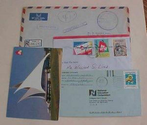 UNITED ARAB EMIRATES DUBAI 3 COVERS 1984,1997 TO USA also POSTAGE PAID BAHAMAS