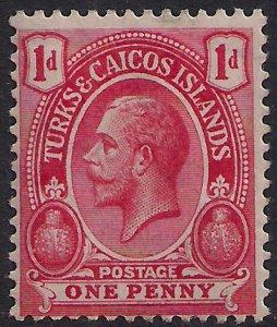 Turks & Caicos 1913 - 21 KGV 1d Rose Scarlet MM SG 130a  ( T991 )