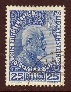 LIECHTENSTEIN 1915 Austrian P.O. Prince John 25h. Deep Blue Thin Paper SG 6 VFU
