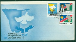 NAMIBIA 659-661 INDEPENDENCE ISSUE, FIRST DAY COVER. F-VF. (102)