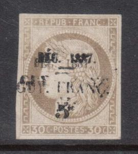 French Guiana #8a (Yvert #6b) VF Mint Double Surcharge **With Certificate**