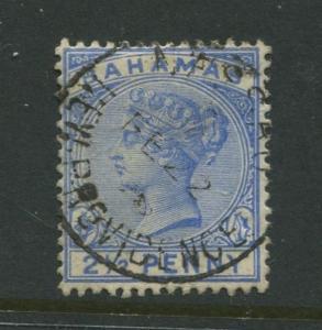 Bahamas -Scott 28 - QV Definitive Issue -1884 - FU - Single 2.1/2p Stamp