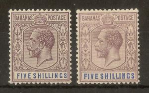 Bahamas 1912 5/- (2) SG88 & 88A Mint Cat£97