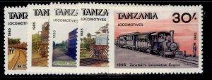TANZANIA QEII SG445-449, 1985 Tazmanian Locomotive set, NH MINT.