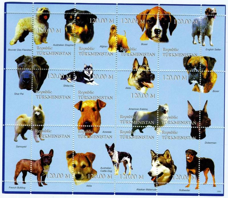Turkmenistan Various Dogs Sheet (12) Perforated mnh.vf