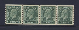 4x Canada Cameo Coil Stamps #205-1c Strip of 4 MNH VF Guide Value = $120.00