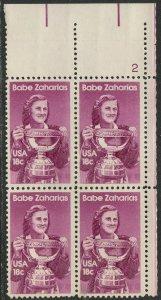 1932 18c Babe Zaharias, Plate Block of 4, Mint NH OG  VF