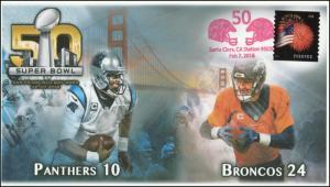 2016, Superbowl 50, Santa Clara CA, Red Postmark, 16-062