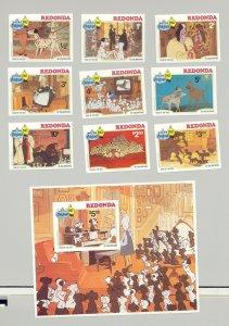 Redonda 1982 Christmas, Disney, Dogs 9v & 1v S/S Imperf Proofs