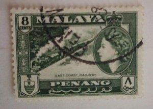 Malaya Penang 1957 Queen Elizabeth II & Local Motives East Coast Railway used