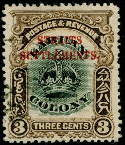 MALAYSIA - Straits Settlements SG143, 3c black & sepia, FINE USED, CDS. Cat £95.