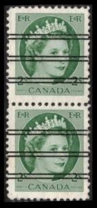 CANADA 1954 QEII 2c X-338 (338xx) GREEN SCARCE PRECANCEL PAIR VERY FINE (K375)