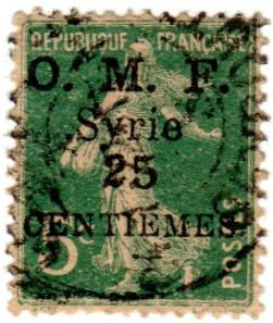 Syria Scott 57 (1921: Sower Overprint; Surcharged 25c on 5c)