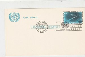 United Nations 1963 United Nations Slogan Cancel FDC Stamps Card ref 22130