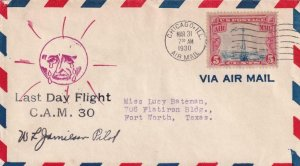 1930, Last Day Flt., CAM-30, Chicago, IL, Signed by Pilot W.F. Jamilson (41943)