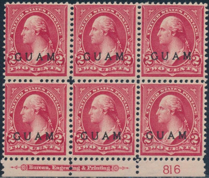 GUAM #2 LOWER PLATE #816 BLK/6 WITH IMPRINT FINE OG TROPICAL GUM CV $300 BR5778