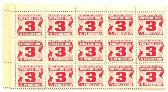 Canada USC #J23 Mint (100) 1967 3c Due in Large Blocks from Same Sheet - VF-NH
