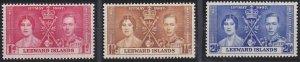 Leeward Islands 100-102 MNH (1937)