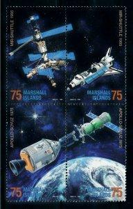 [102289] Marshall Islands 1995 Space travel MIR Shuttle Apollo Soyuz  MNH
