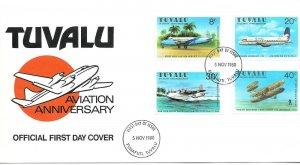 Postal History Tuvalu FDC , AVIATION ANNIVERSARY, 1980