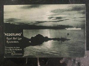 1908 Singapore Picture Postcard Cover To New York Usa Nederland Royal Mail Line