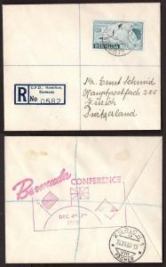 Bermuda, 1953 Conference registered cover to Switzerland       -BH00