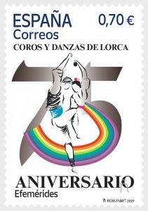 Stamps Spain 2021 - 75th Anniversary Group Of Choirs And Dances Of Lorca.