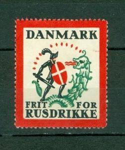 Denmark. Poster Stamp.  Temperance Movement Good Templar. Knight,Shield,Flag