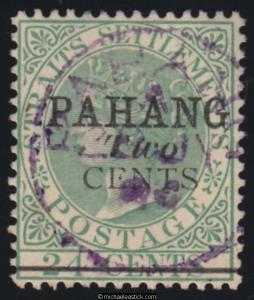 1891 Malaya Pahang Two Cent surcharge on Overprinted 24c Green SG 7 used