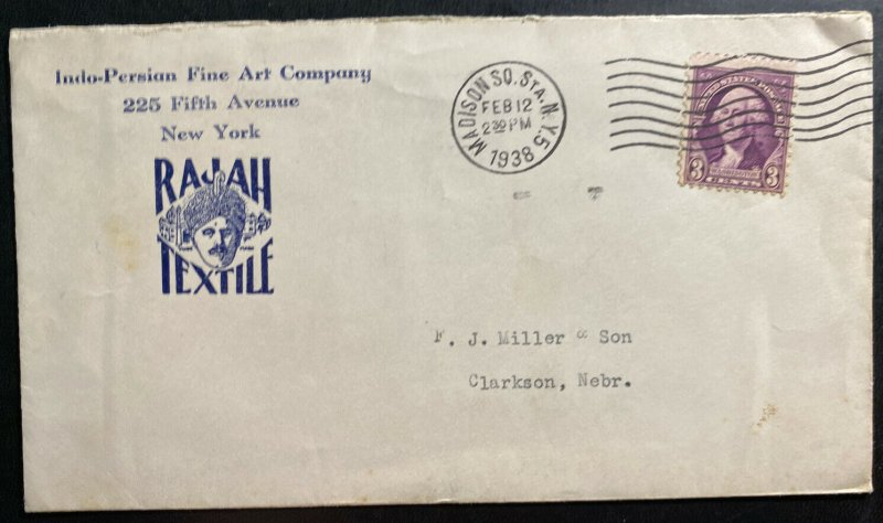 1938 Madison NY USA Advertising Cover To Clarkson NB Indo Persian Fine Art Co