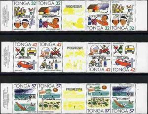 Tonga 1991 Accident Prevention set of 12 opt'd SPECIMEN (...