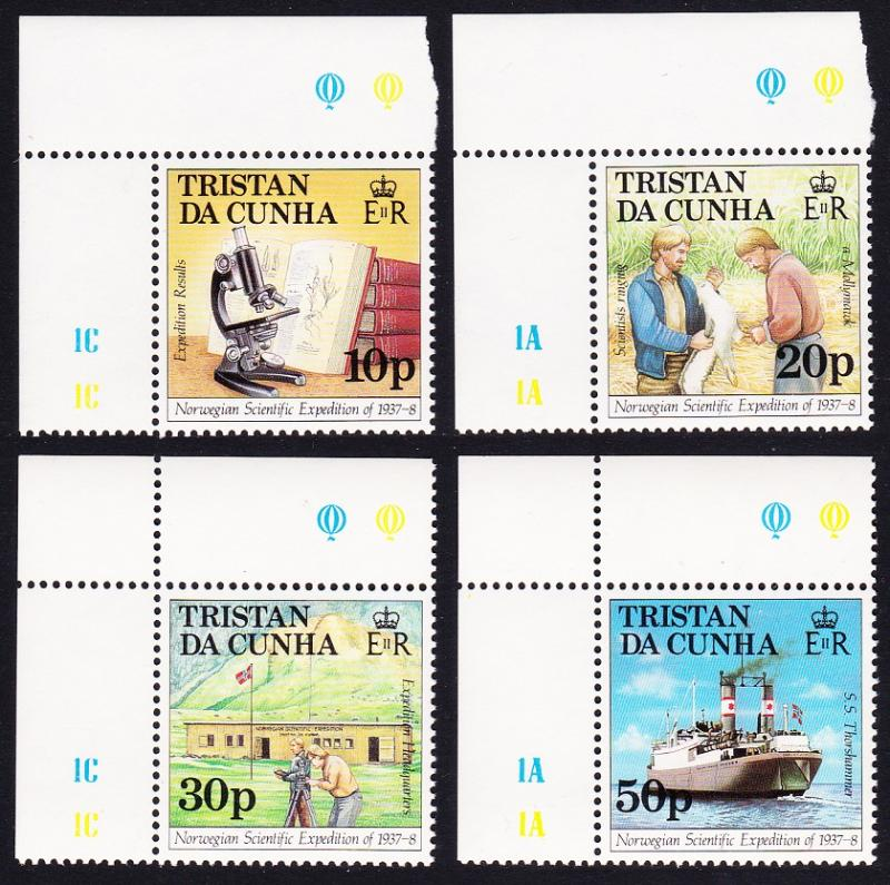 Tristan da Cunha Norwegian Expedition 4v Corners with margins SG#434/47