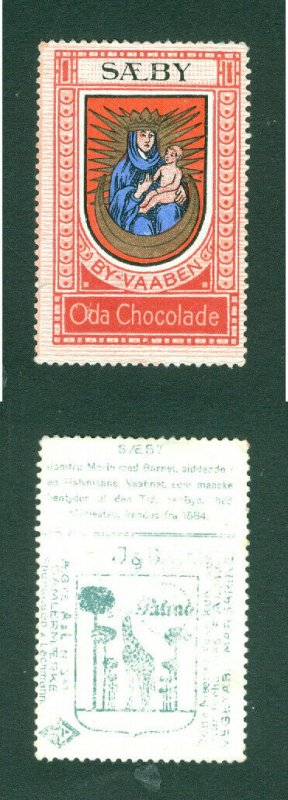 Denmark. Poster Stamp ODA Chocolate Saeby. Coats Of Arms. Madonna,Child.