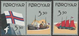 Faroe Islands, #207a-c  Unused From 1990