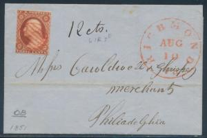 #10A ON FOLDED LETTER RED GRID CNL VA TO PHILADELPHIA 8/10/1851 CV $220 BR4317